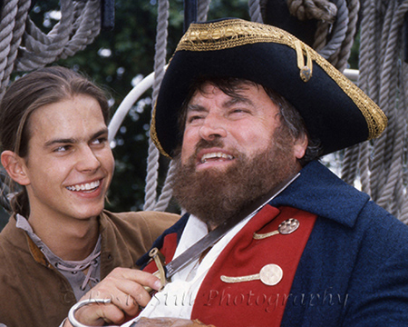Photo of actors Kristian Schmid & Brian Blessed on the Cutty Sark 1992 promoting their panto