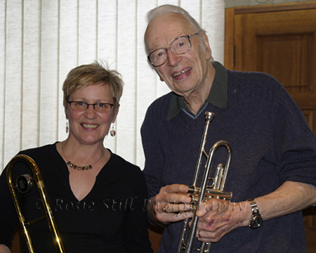 Photo of Humphrey Lyttelton in the recording studio with Annie Whitehead (trombone) 2007
