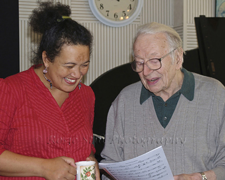Photo of Humphrey Lyttelton with singer Louise Parker in Porcupine Studios. This was the last photo session I did with Humph before he died in 2008