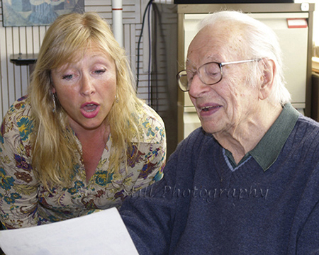 Photo of Humphrey Lyttelton in the recording studio with singer Tina May 2007