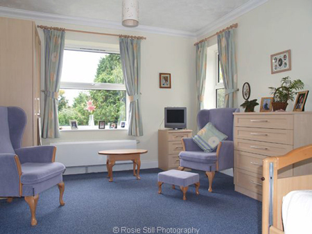 One of the bedrooms at Fairmount Retirement Home
