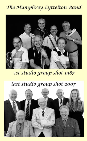 Photo of The 1st (1987) and last (2007) Humphrey Lyttelton Band shots taken in my studio
