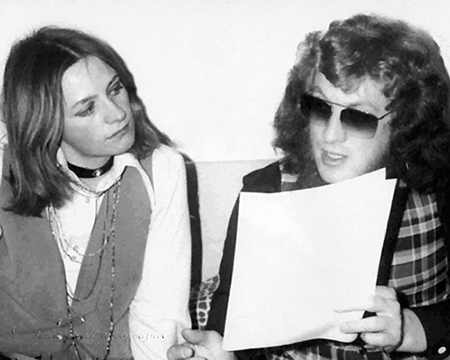 Black & white photo of Me with Noddy Holder (SLADE) in 1974