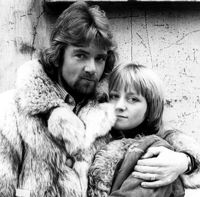 Black & white photo of Me with Noel Edmonds in 1978