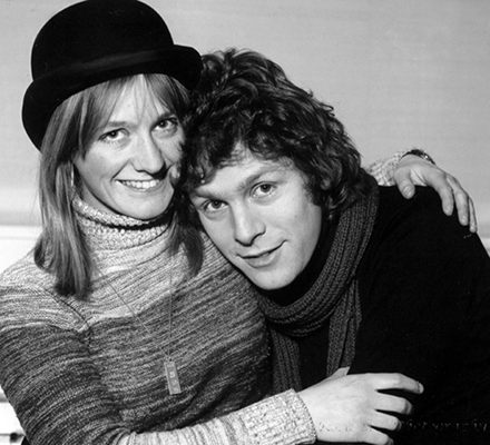 Black & white photo of Me with Actor/Singer Paul Nicholas in 1977