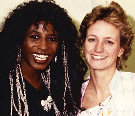 Colour photo of Me with singer Sinitta 1987